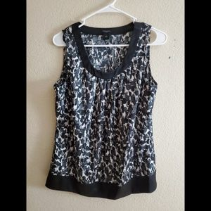 Ann Taylor Silk Black Sleeveless Paisley Top